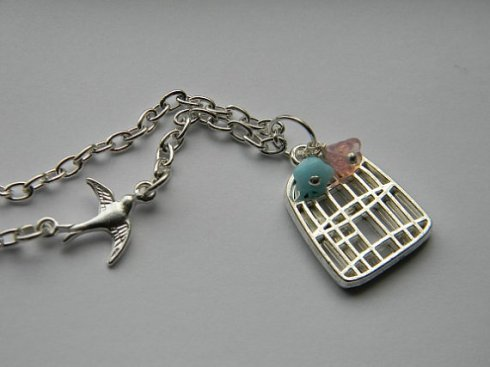 Sparrow Birdcage Necklace
