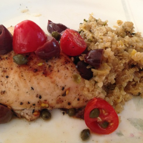 Mediterranean Chicken with Artichoke Quinoa Salad